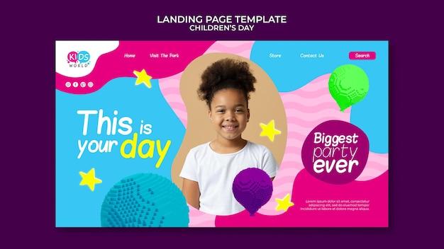 Lustige bunte landingpage-vorlage für den kindertag