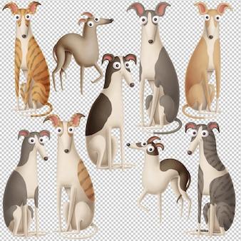 Lustige karikaturhundesammlung