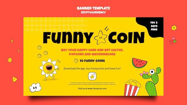 Lustige münzen-kryptowährungsbanner-vorlage