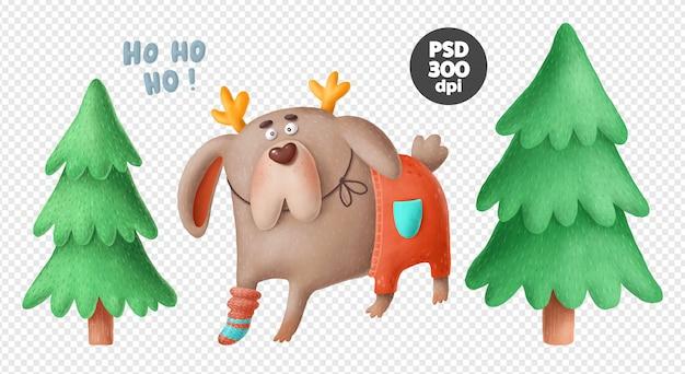 Lustiger hund und weihnachtsbäume