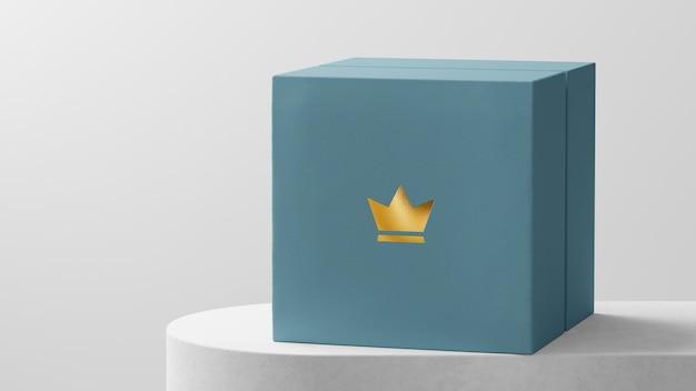Luxuriöse logo mockup schmuck uhrenbox