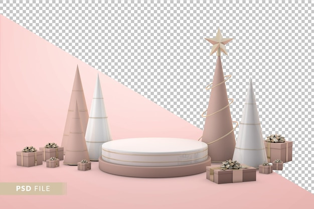 Luxuriöse weihnachtspräsentation mit 3d-podium und realistischen geschenkboxen