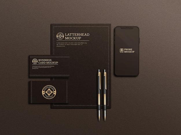 Luxuriöses briefpapiermodell in dunkler farbe