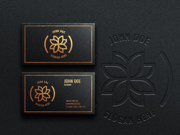 Luxuriöses dunkles visitenkarten-logo-modell mit präge- und prägeeffekt