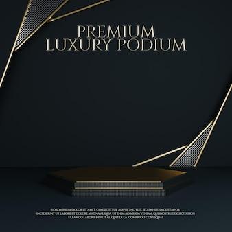 Luxuriöses geometrisches gold ornament podium produktdisplay