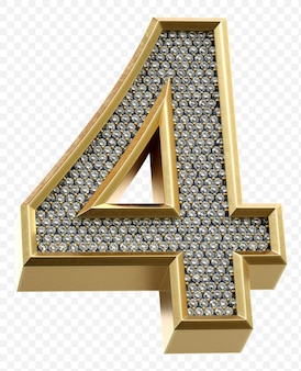 Luxuriöses goldenes alphabet mit diamanten nummer 4 isoliertes 3d-renderbild