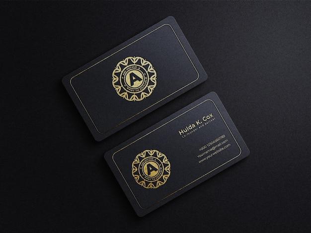 Luxuriöses goldenes geprägtes visitenkarten-draufsichtsmodell
