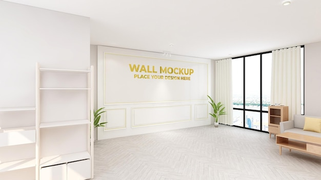 Luxuriöses goldenes logo-modellschild im büroraum des empfangsmitarbeiters