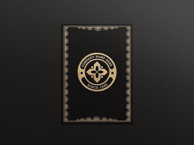Luxuriöses logo-mockup auf einer a4-seite mit prägeeffekt
