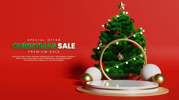 Luxuriöses rotes podium mit realistischem weihnachtsbaum