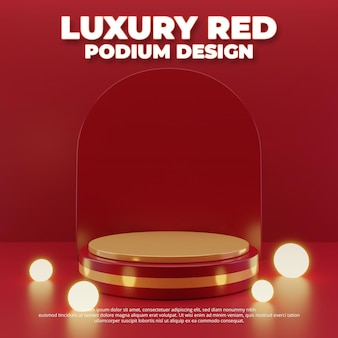 Luxuriöses rotes podiumsdesign, 3d-rendering