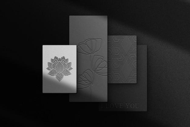 Luxuriöses, schwarzes, geprägtes papier-draufsichtsmodell