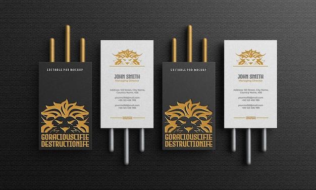Luxuriöses und elegantes vertikales visitenkartenmodell von oben