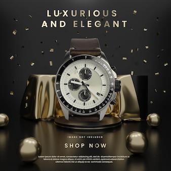 Luxuriöses und leuchtend schwarzes goldpodest mit konfetti-quadrat