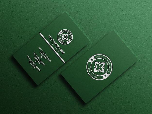 Luxuriöses visitenkartenmodell in grüner farbe