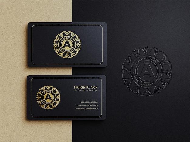 Luxuriöses visitenkartenmodell mit goldprägung