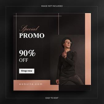 Luxury dark fashion sale social media post und instagram story banner vorlage