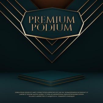 Luxury premium podium mit gold geometrischem element