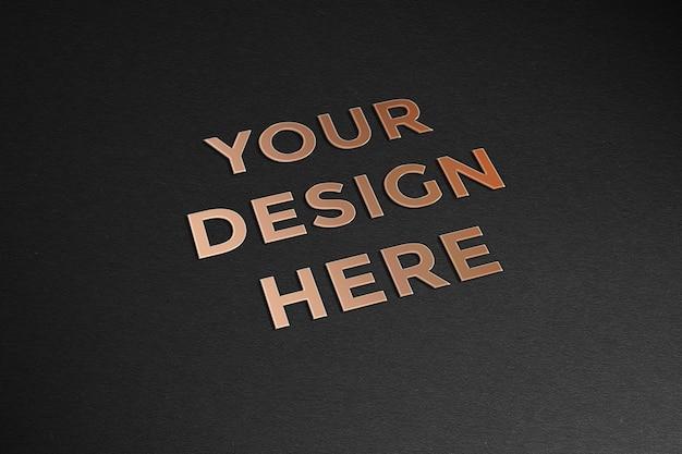 Luxus 3d texteffekt auf schwarzes papiermodell