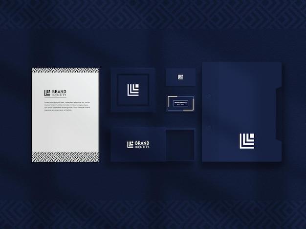 Luxus-briefpapier-modellset in blau