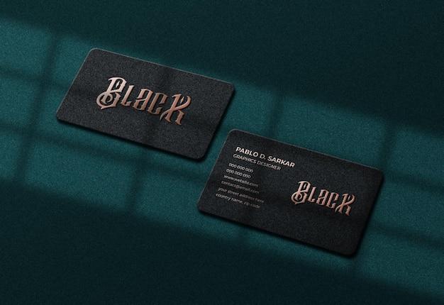 Luxus dunkle visitenkarte und logo modell premium psd