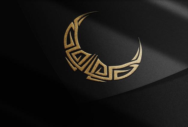 Luxus gold halbmond geprägte logo mockup schwarze karte oben
