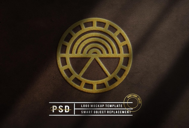Luxus gold logo modell leder hintergrund