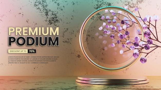 Luxus-gold-podium mit rosen