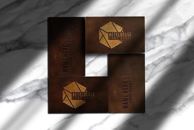 Luxus-leder geprägte visitenkarten-draufsichtsmodell