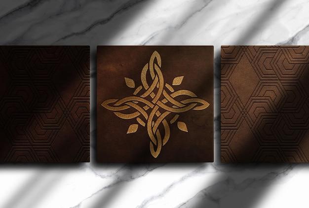 Luxus-leder-gold geprägte box draufsicht mockup