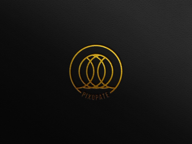 Luxus-logo-mockup auf schwarzem leder mit golddruck-presseffekt