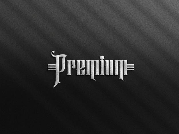 Luxus logo mockup schwarzes papier mit prägeeffekt