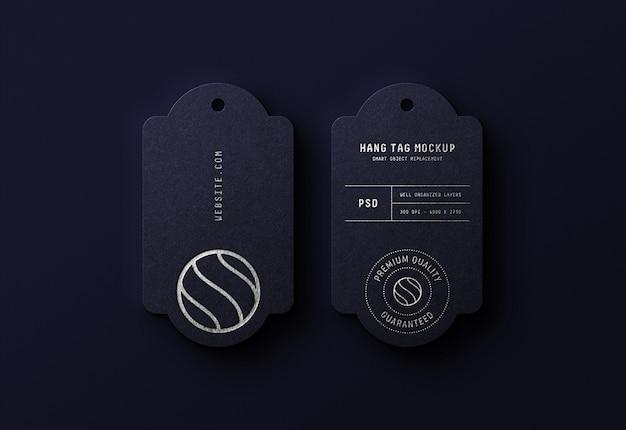 Luxus-logo-modell auf dunkelblauem hang-tag