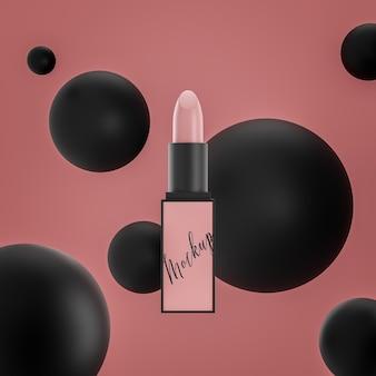 Luxus-logo-modell auf rosa lippenstift