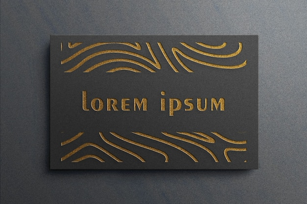 Luxus-logo-modell auf schwarzer visitenkarte