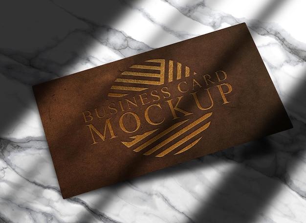 Luxus nahaufnahme leder geprägtes logo visitenkartenmodell