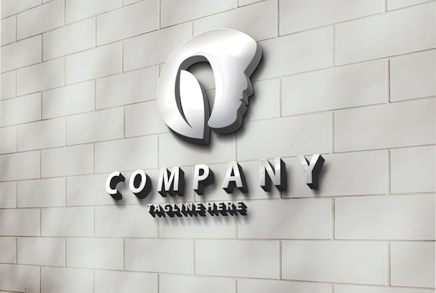 Luxus schönheit metallic 3d wand logo mockup