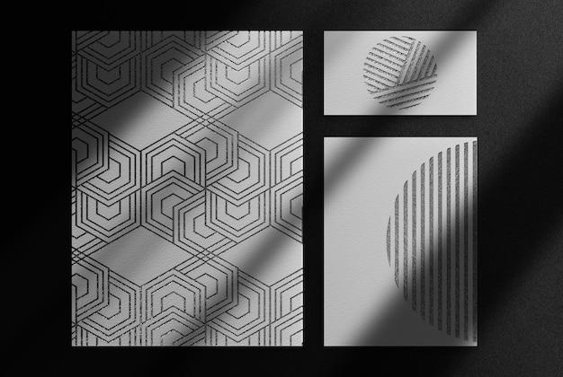 Luxus schwarz geprägte papiere draufsicht mockup