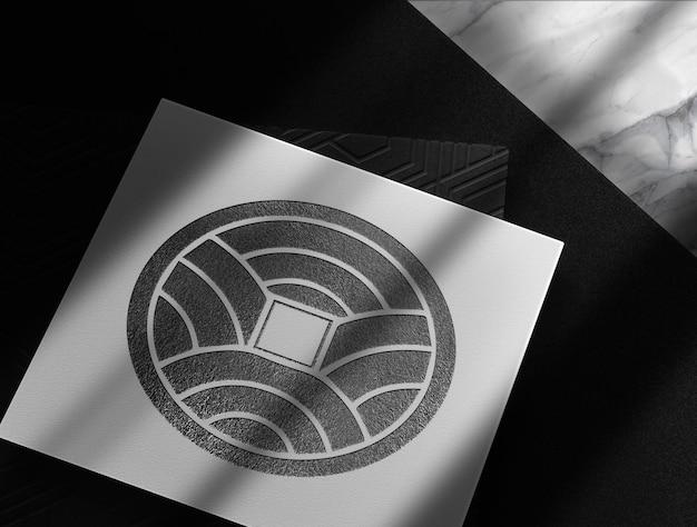 Luxus schwarz geprägte papiere mockup