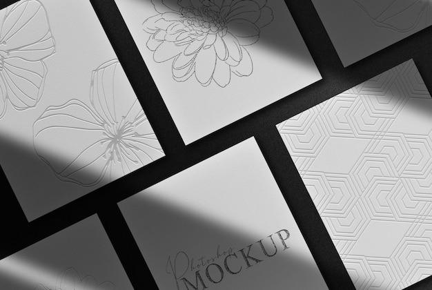 Luxus schwarz geprägte pepers mockup draufsicht