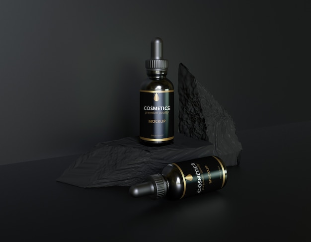 Luxus schwarz goldene kosmetikflasche modell