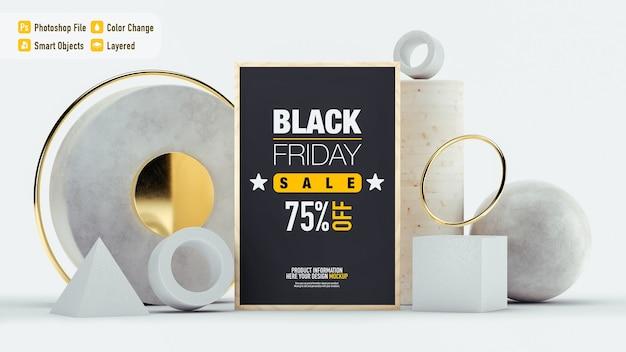 Luxus-stillleben-modell für black friday mit verschiedenen objekten isoliert