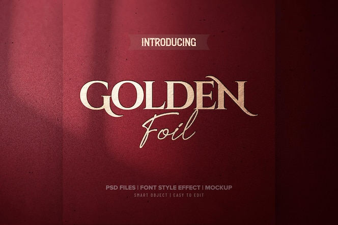 luxus-texteffekt der roten goldfolie