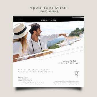 Luxus-vermietung quadratischer flyer-vorlage