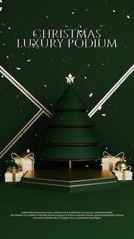 Luxus weihnachtsbaum gold premium podium