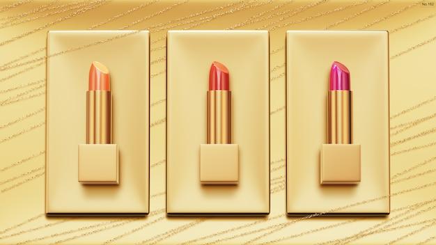 Luxuslippenstift auf goldhintergrund.