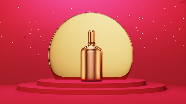 Luxusprodukt mit gold mit abgerundetem rahmen auf rotem podium