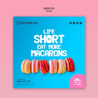 Macarons flyer template design