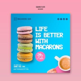 Macarons flyer-vorlagenkonzept