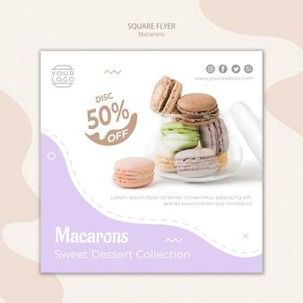 Macarons in der quadratischen flyerschablone des glases